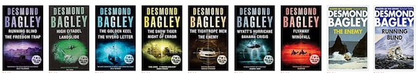 A selection of Desmond Bagley books on Amazon